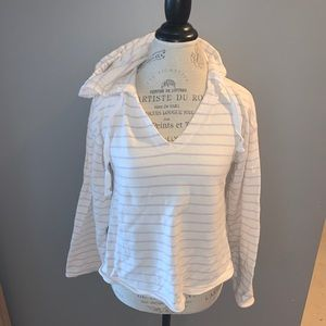 Cream Hoodie With Pink Stripes Size Small